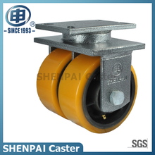 "8""Iron Core Yellow PU Rigid Caster Wheel"