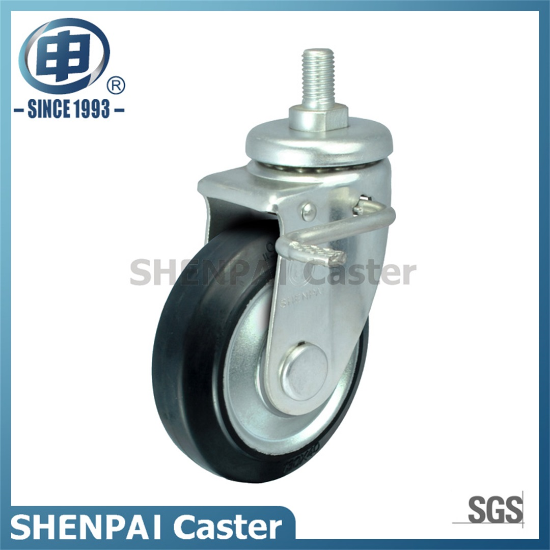 "4"" Steel Core Rubber Swivel Brake Caster Wheel(Black)"
