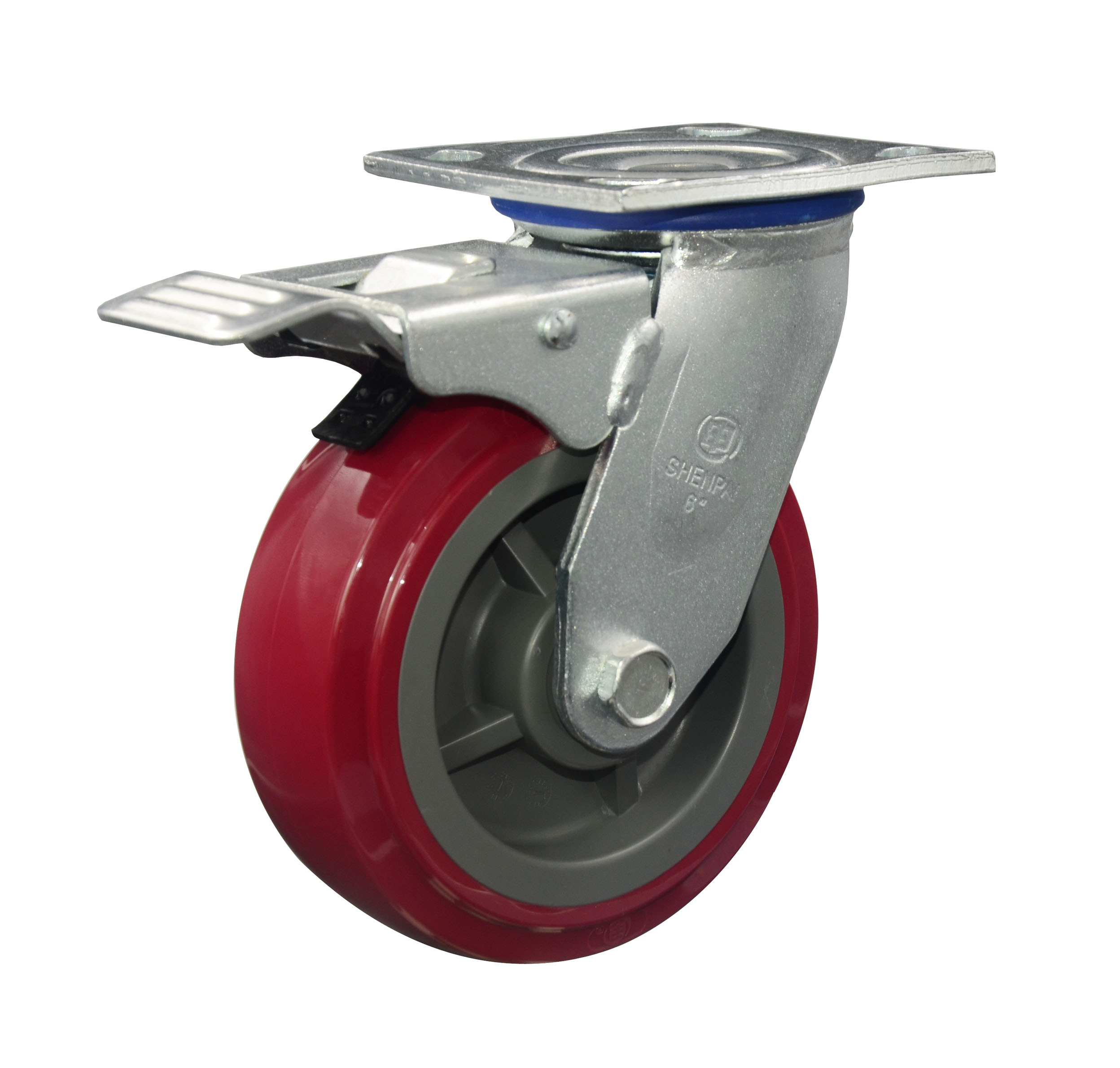 "8"" Red PU Swivel with brake Caster Wheel"